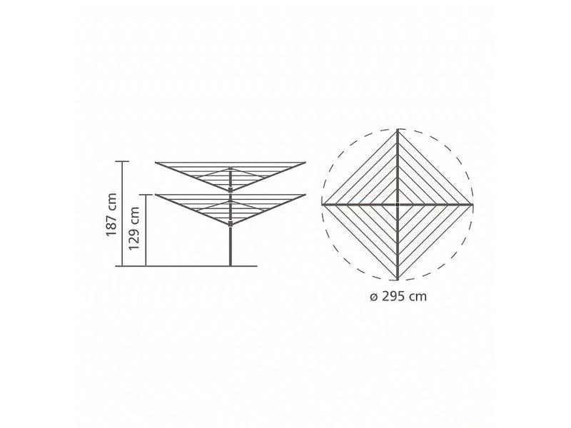 Brabantia Droogmolen Lift O Matic 50 meter met grondanker