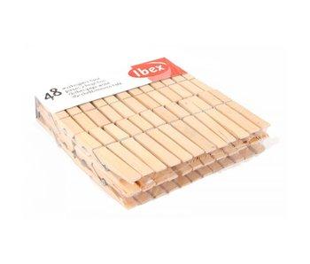 Ibex Wasknijpers hout 48 stuks