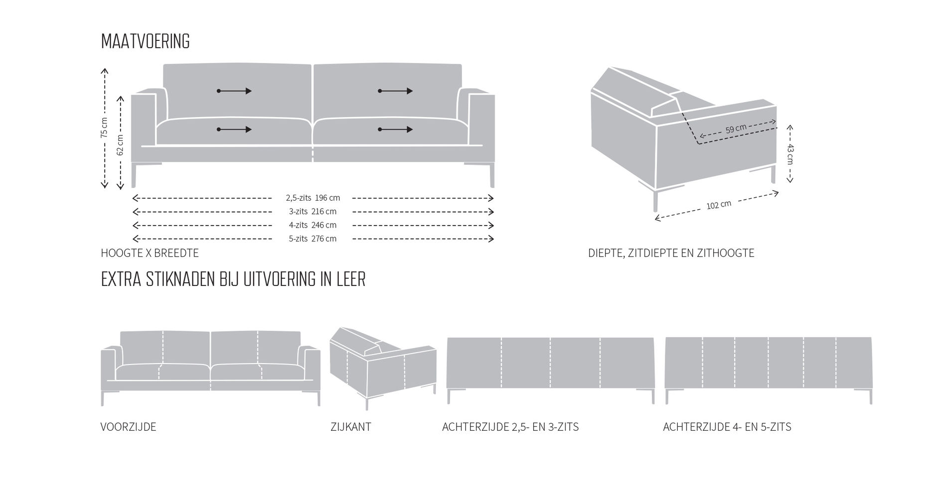 Dimensions sofa Aikon Design on Stock in Dotshop