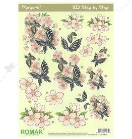 Romak Feuille 3D Romak Megumi Fleurs Papillons