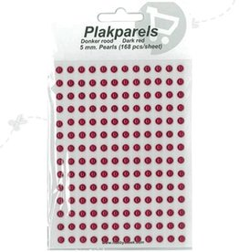 Hobbytheek Plak Parels Donker rood -Dark Red 5 mm