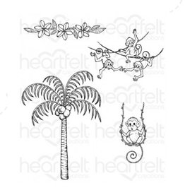 Heartfelt Palm Tree & Monkeys Cling Stamp Set