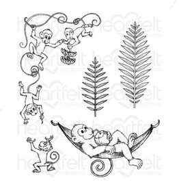 Heartfelt Monkeying Around Cling Stamp Set