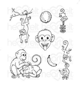 Heartfelt Monkey Antics Cling Stamp Set