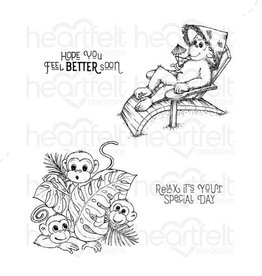 Heartfelt Relaxin' Monkeys Cling Stempel Set