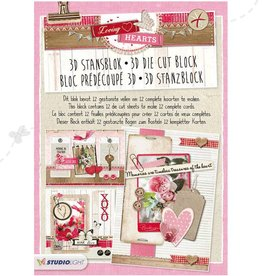 Studiolight STANSBLOK A4, CONTENT 12 SHEETS DIE CUT, LOVING HEARTS