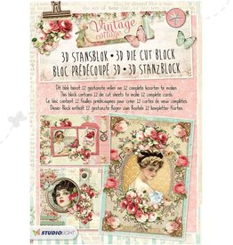 Studiolight STANSBLOK A4, CONTENT 12 SHEETS DIE CUT, VINTAGE COTTAGE