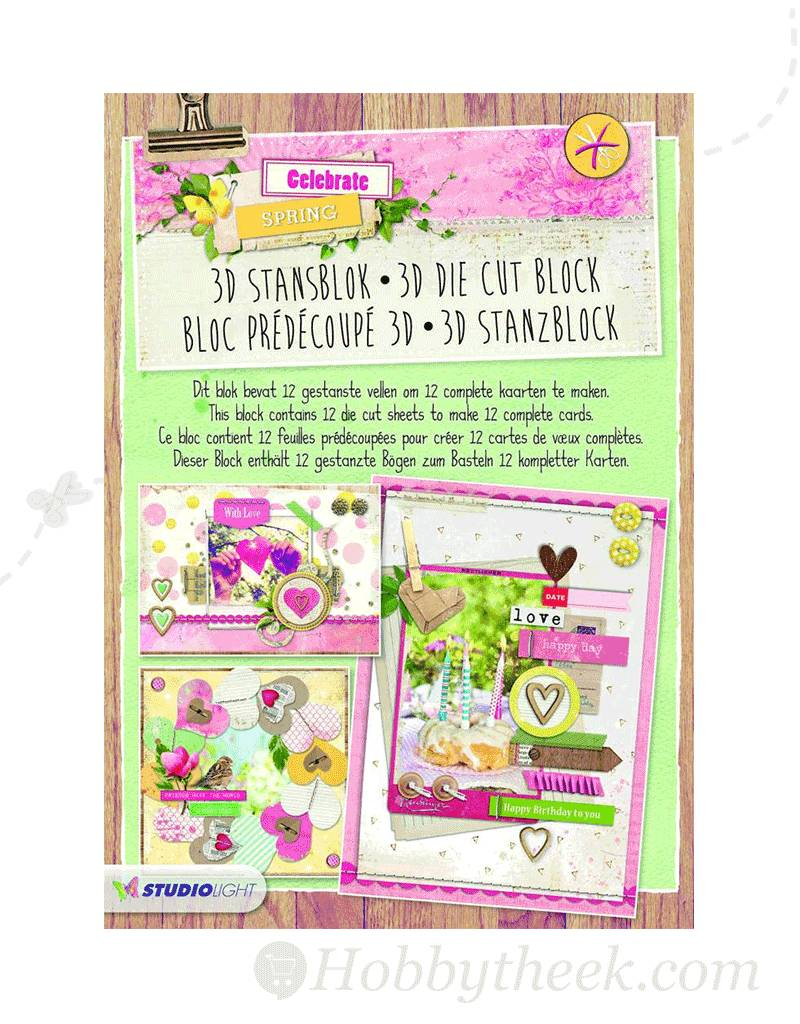 Studiolight STANSBLOK A4, CONTENT 12 SHEETS DIE CUT, CELEBRATE SPRING