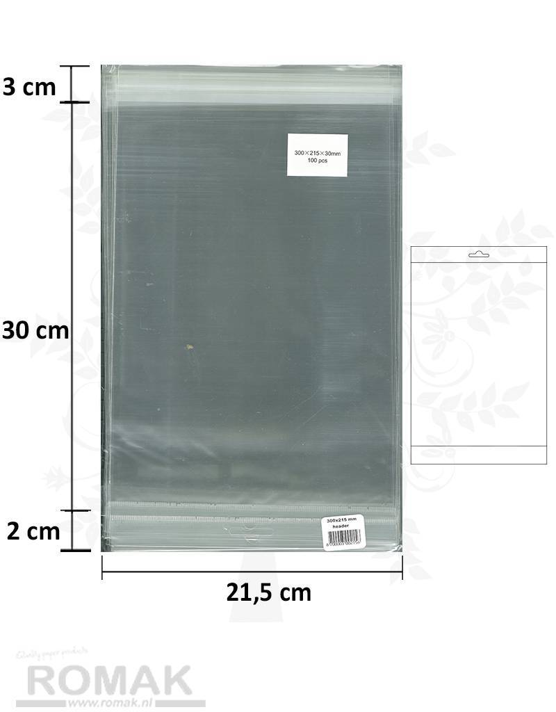 Hobbycentraal A4 bags with adhesive strip and Header