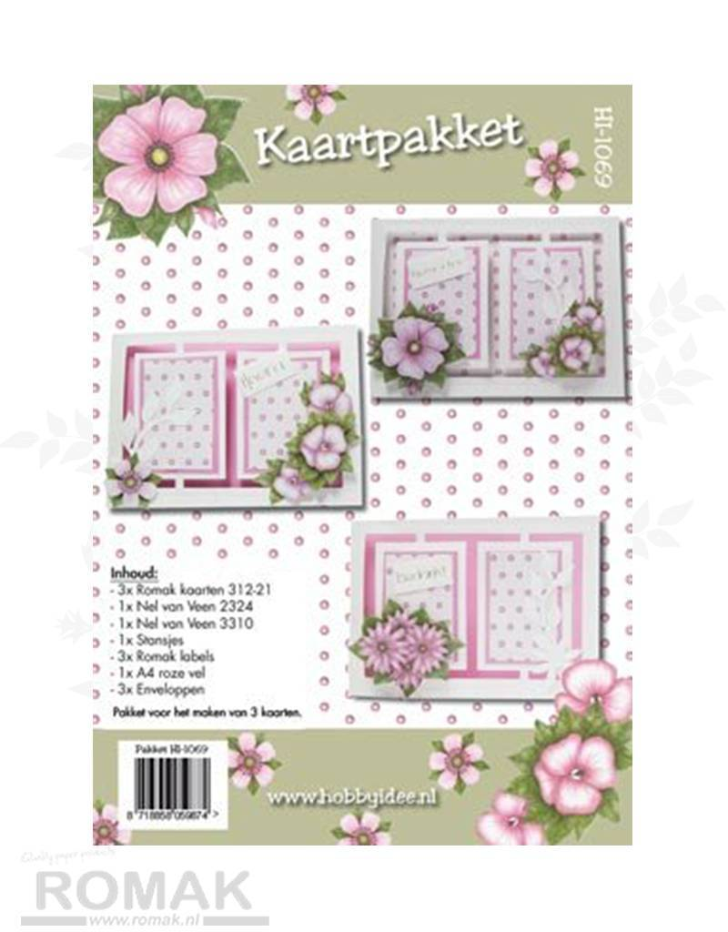 Hobby Idee Card set Floral pink Hobby Idea