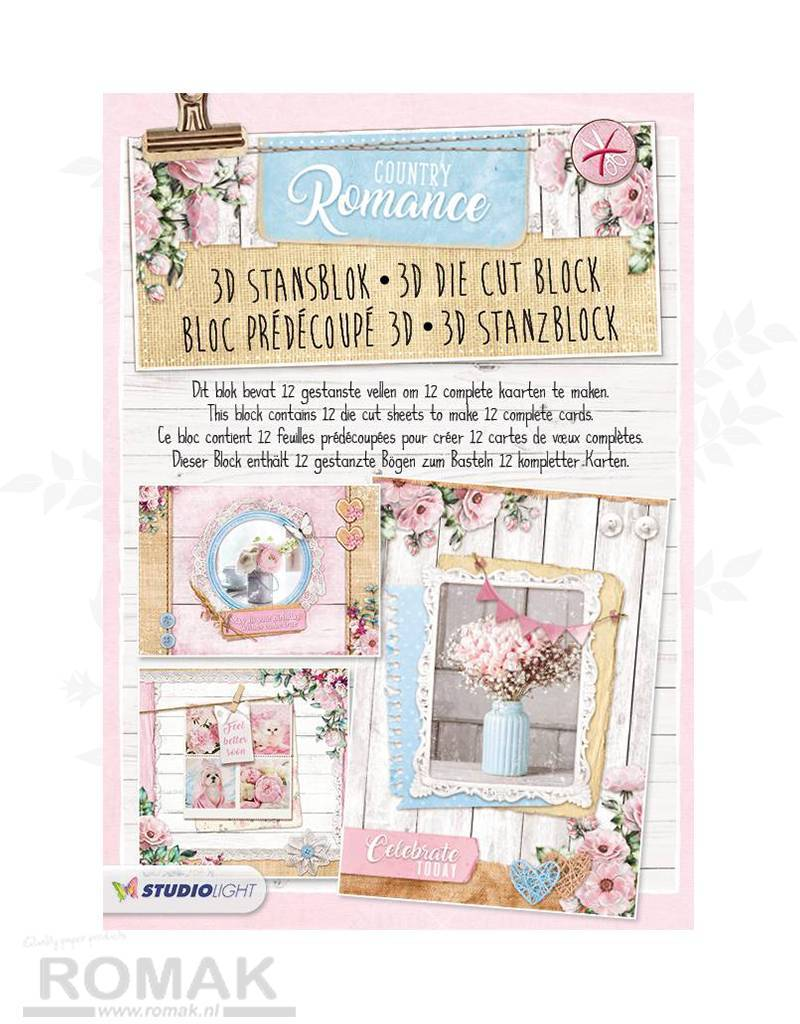 Studiolight STANSBLOK A4, CONTENT 12 SHEETS DIE CUT, COUNTRY ROMANCE