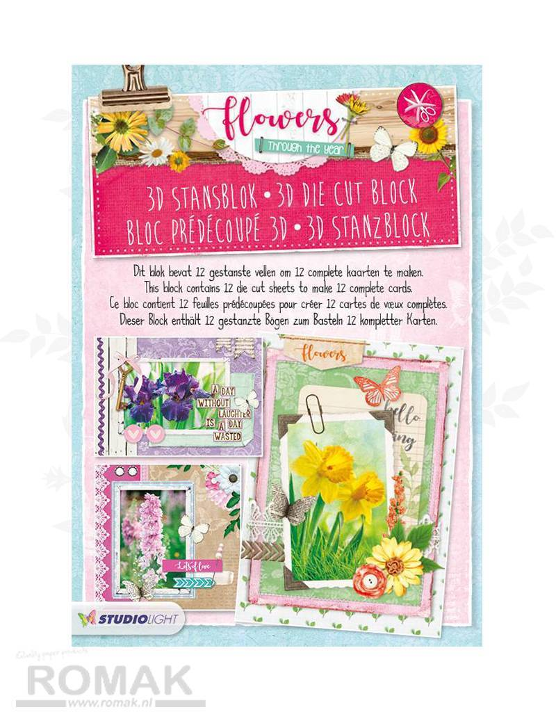 Studiolight STANSBLOK A4, CONTENT 12 SHEETS DIE CUT, FLOWERS THROUGH THE YEAR