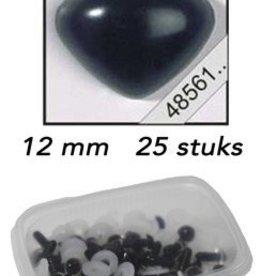 LeSuh Driehoeks neus zwart 12mm 25 st