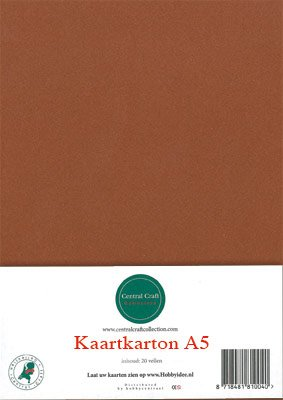Hobbycentraal A5 Kaartkarton 20 vel bruin