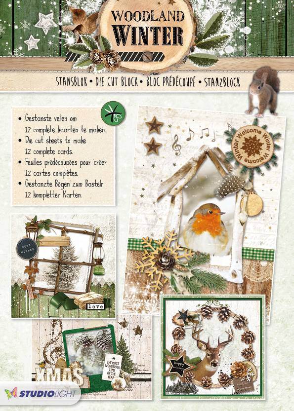 Studiolight STANSBLOK A4, CONTENT 12 SHEETS DIE CUT, WOODLAND WINTER NR.53