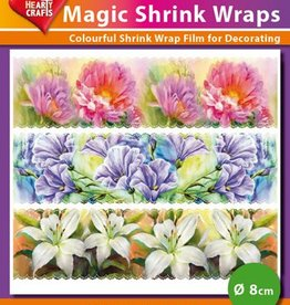 Hearty Crafts Magic Shrink Wraps, Painted Flowers (⌀ 8 cm)