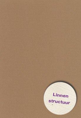 Hobbycentraal Karton 13,5_27cm Linnen  10 vel   Mocca