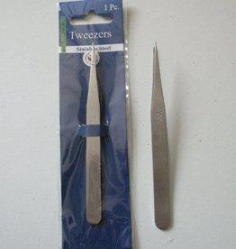 Hobby Crafting & Fun Tweezers, fine tip straight, stainless steel, 12,2 cm, 1 pce/ header bag