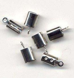 Hobby Crafting & Fun Cord clasp large 7x5 mm., Platinum, 6pcs/bag