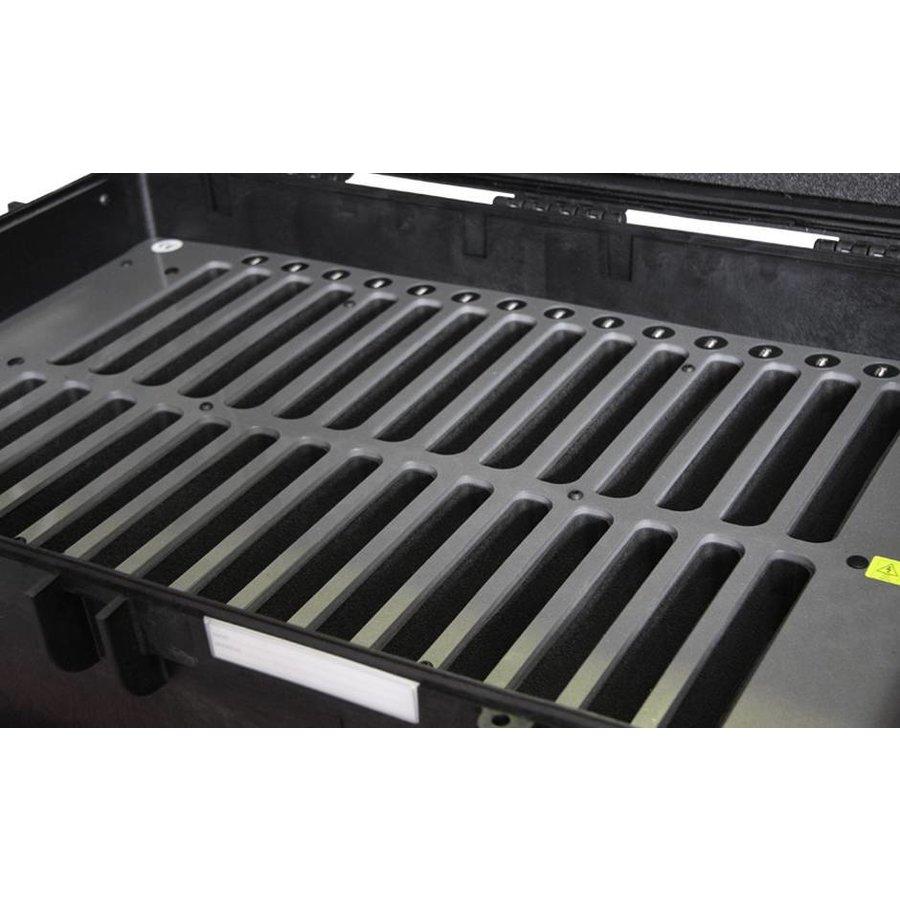 """iNsync C14; robuuste koffer voor 30 iPad Air en 10""""-11"""" tablets, koffer/kar op wieltjes met slot voor opbergen, opladen, synchroniseren & transport"""