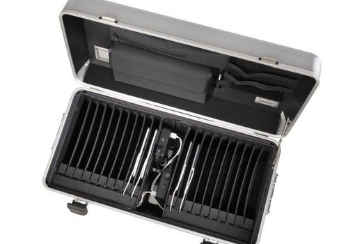 Parat charge i20 trolley case for tablets with 20 compartments silver grey