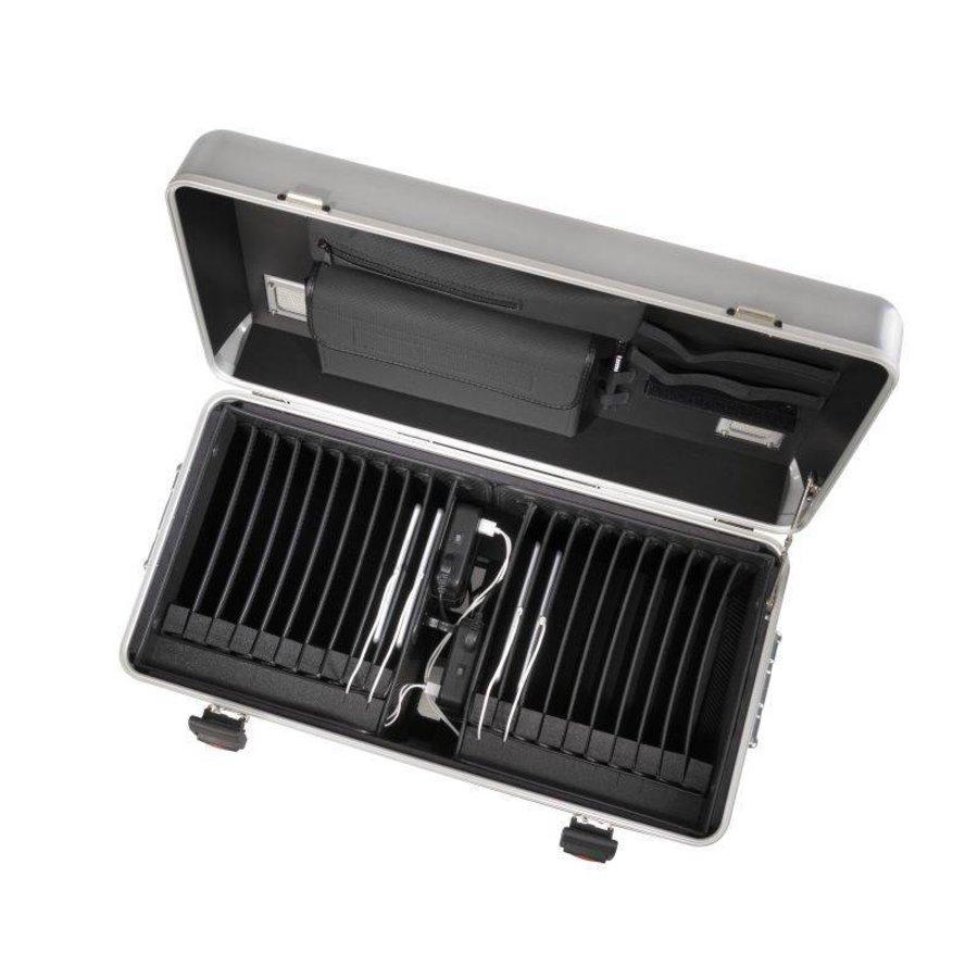 i20; mobiel oplaadstation voor 20 iPad, met compartiment indeling zilverkleur-2