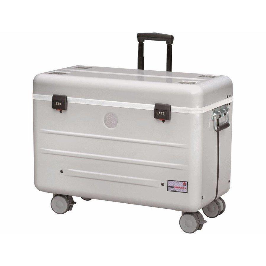 Mobiel oplaadstation voor 10 iPads, i10 trolley koffer, met 10 compartimenten zilvergrijs aluminium