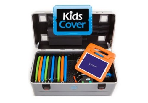 Parat charge & sync i16KC trolley case for 16 iPads with kidscover including lightning kabels without storage slot dividers silver grey