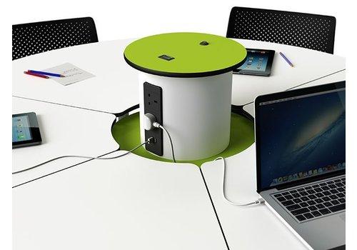 Zioxi Bedraadde, oplaadbare Mini BYOD powerHub met 2 stopcontacten, 2 USB powerDome aansluitingen