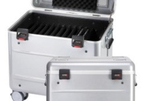 """Parat charge C10 Koffertrolley fuer 10 Chromebooks von maximaal 15"""" mit Kompartimentierung silbergrau"""