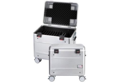 """Parat charge C10 koffertrolley voor 10 Chromebooks van maximaal 15"""" met vakindeling zilvergrijs"""