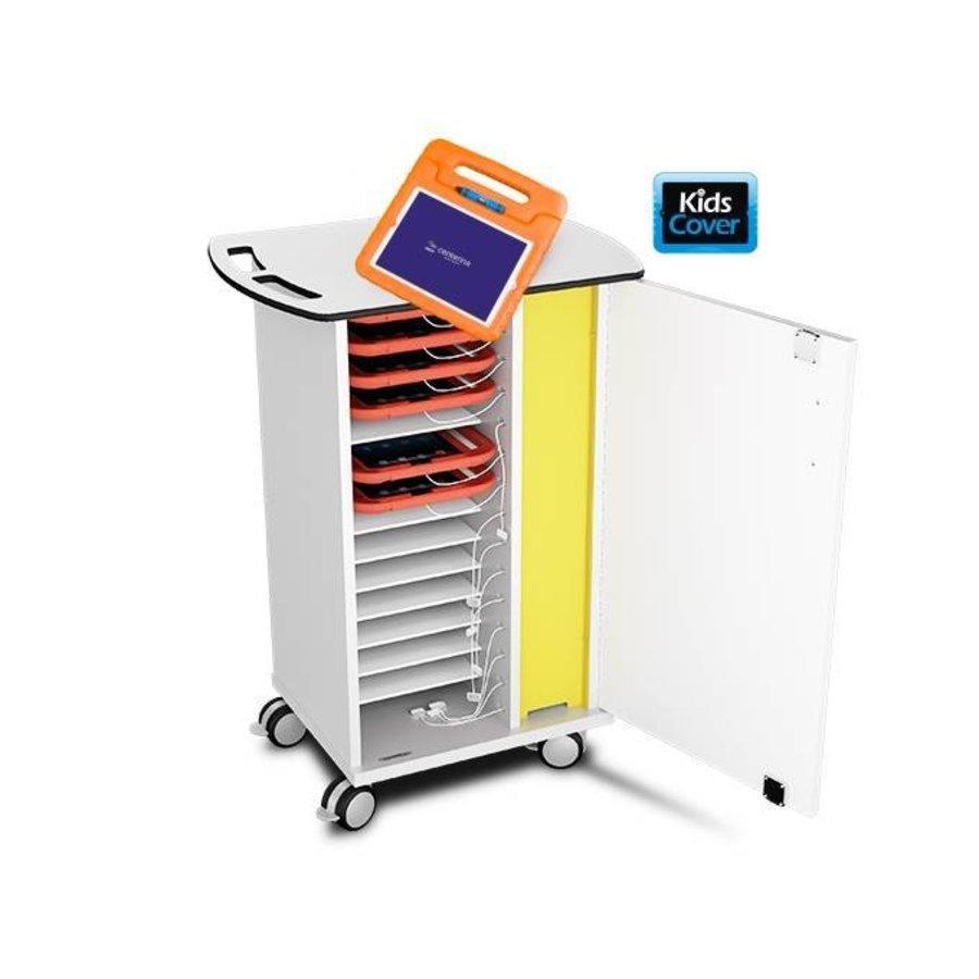 Oplaadkast op wielen voor 15 tablets in dikke EVA schuim hoezen zoals KidsCover-2