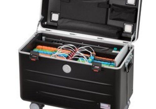 Parat charge N16 Systemkoffer mit Rollen  fuer Tablets mit 16 Einschubfaecher schwarz
