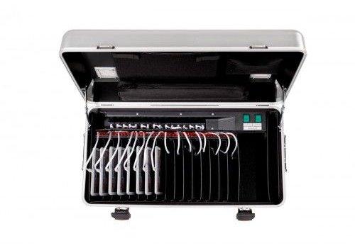 Parat charge & sync i16 koffertrolley voor 16 iPads inclusief lightning kabels met vakindeling zilvergrijs