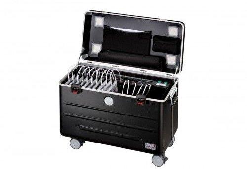 Parat charge & sync i16 koffertrolley voor 16 iPads inclusief lightning kabels met vakindeling zwart
