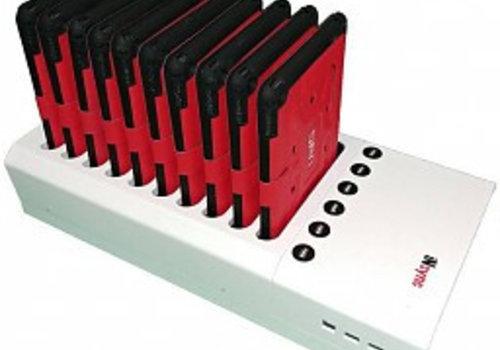 Parotec-IT charge & sync DL10 desktop laadstation met autodocking voor 10 iPads in meegeleverde hoezen