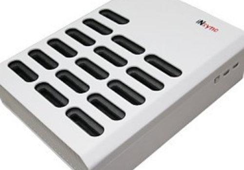 Parotec-IT charge & sync DL10 desktop laadstation met autodocking en sync functie voor 16 iPods in meegeleverde hoezen