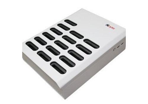 Parotec-IT charge & sync DL10 desktop laadstation met autodocking en sync functie voor 10 iPads in meegeleverde hoezen