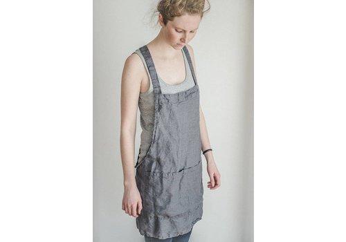 notPERFECTLINEN Grey linen short Apron