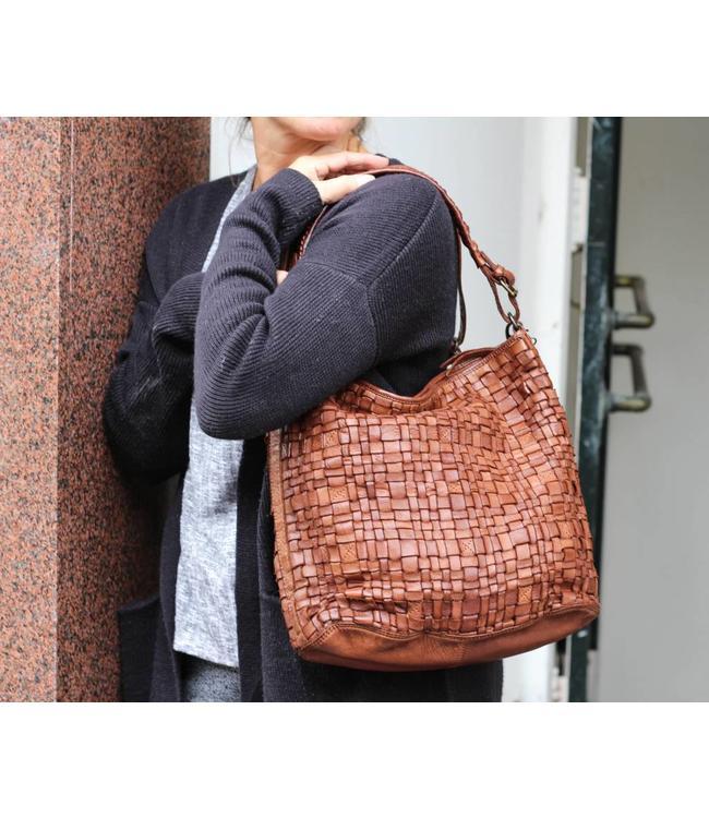 Bear Design Schultertasche 'Tess' Cognac Woven CL32444
