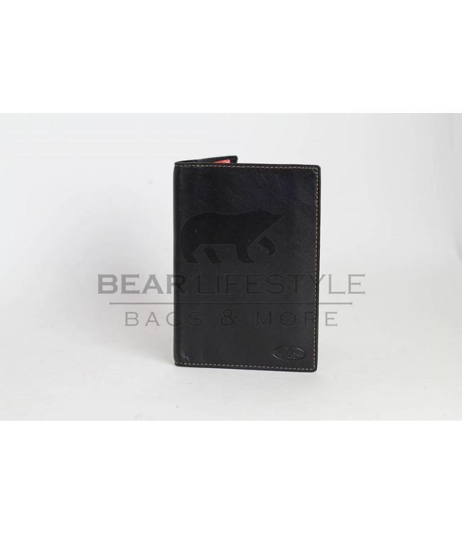 Bear Design Leder Karten/ Pass Etui RO528 Schwarz