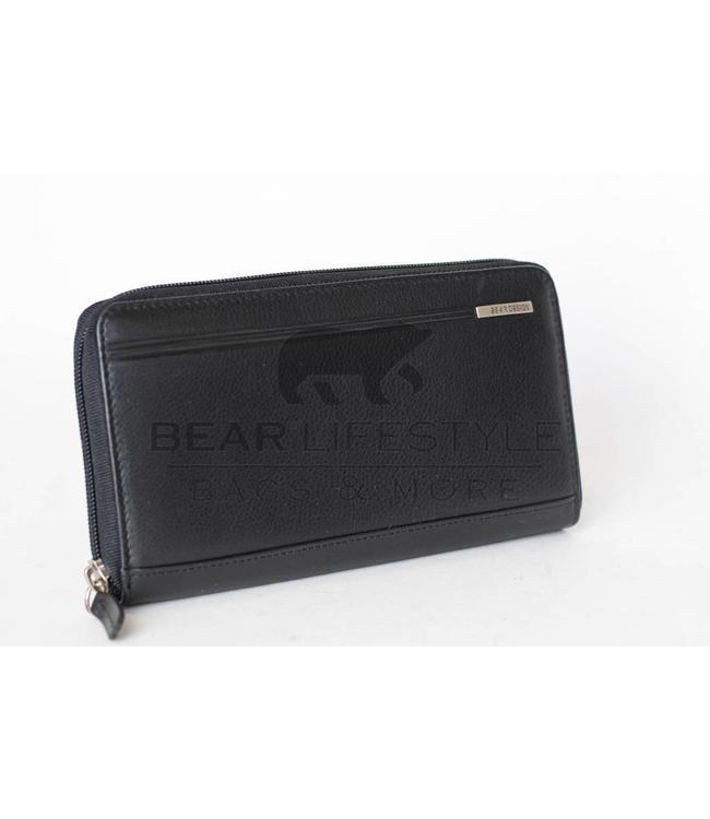 Bear Design Anti-skim Dames rits portemonnee QN14253 Zwart