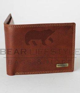 Bear Design Anti-skim Heren portemonnee QN2148 Cognac