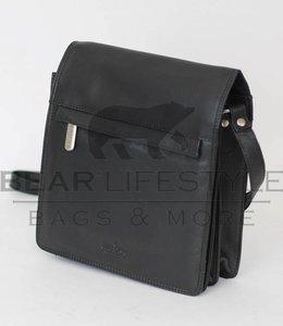 Bear Design Schoudertasje met flap 'Aafke' Zwart B6266