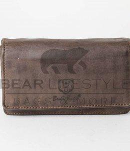 Bear Design Damesportemonnee Overslag GR9863 Donkerbruin