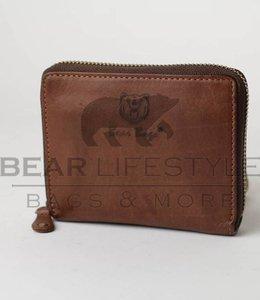 Bear Design Rits portemonnee klein - Cognac GR10350