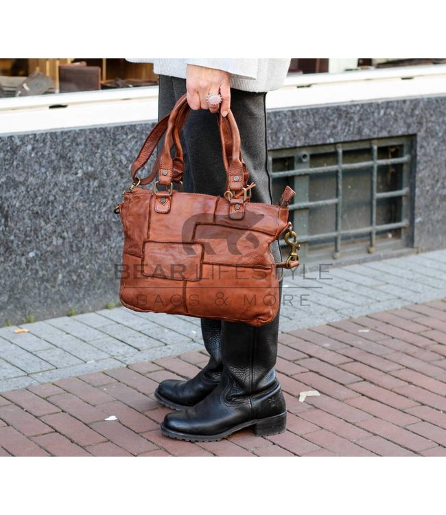Bear Design Hand-Schultertasche GR6095 Cognac