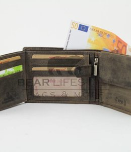 Bear Design Geldbörse Billfold HD2689 Anti-skim Braun