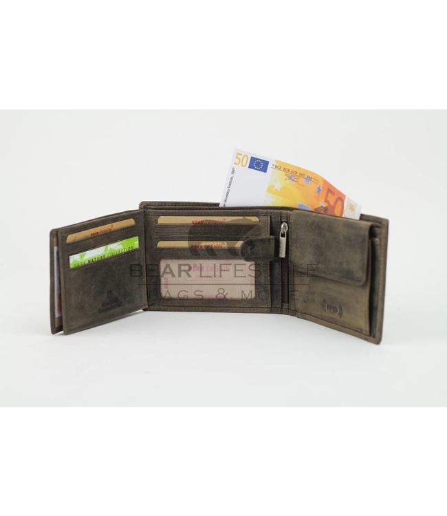 Bear Design Geldbörse Billfold HD2689 Anti-skim Braun