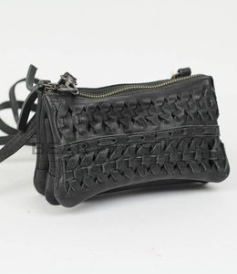 Bear Design Portemonnee-/Schoudertasje CP4887 Gevlochten - Zwart